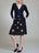 Womens Black Parasol Flower Netting Dress