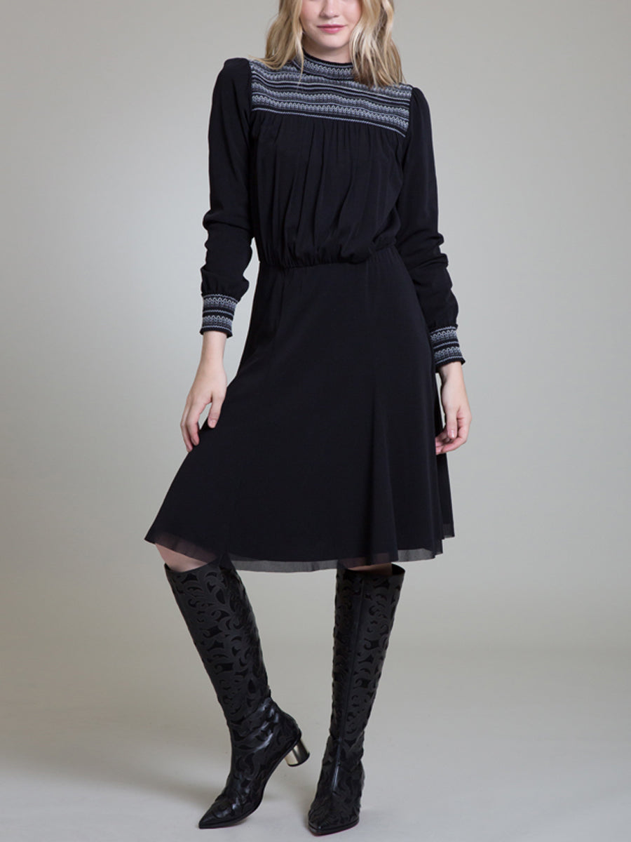 Womens Black Smock Neck A-Line Dress