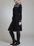 Womens Black Smock Neck A-Line Dress   4