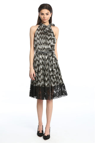 Womens Black Zig Zag Sequins Dress