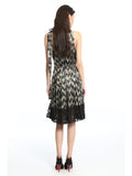 Womens Black Zig Zag Sequins Dress 4