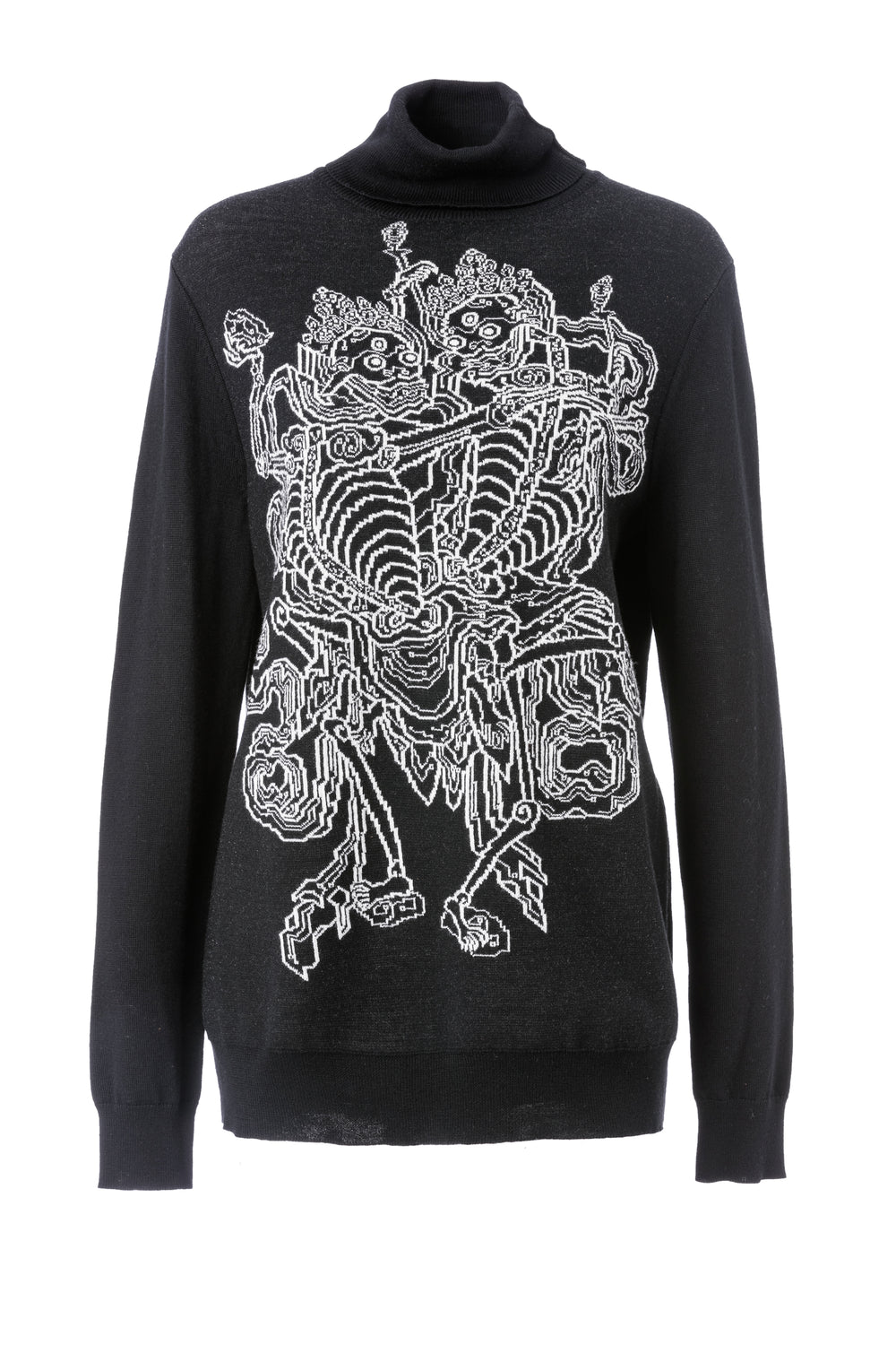 Womens Black Skeleton Jacquard Pullover Sweater