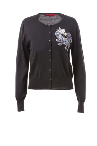 Womens Black Tiger Badge Cardigan