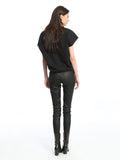 Womens Black Coated Twill Skinny Pants 2