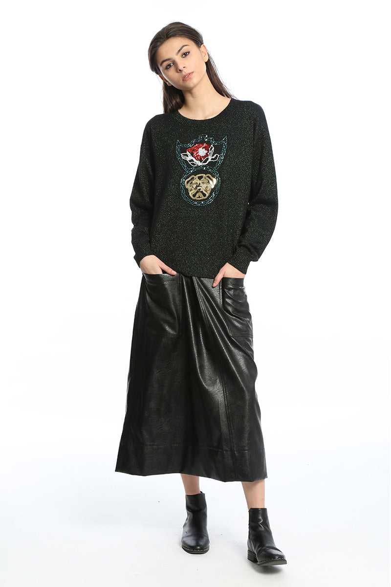 Womens Black Faux Leather Midi Skirt