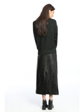 Womens Black Faux Leather Midi Skirt 2