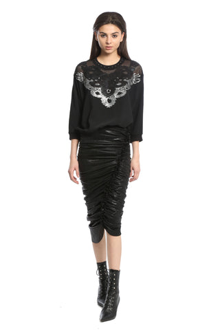 Womens Black Metallic Ruching Skirt