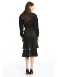 Womens Black Pleated Lace Skirt 2