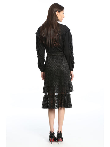 Womens Black Pleated Lace Skirt 2 Alternate View