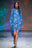 Womens Blue Multi Double Flying Crane Dress 2 Alternate View
