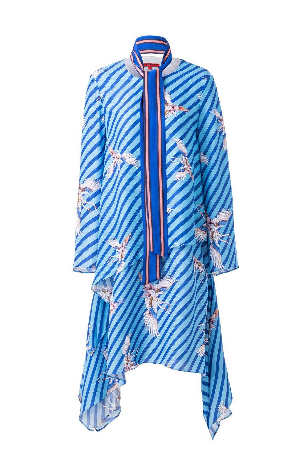Womens Blue Multi Double Flying Crane Dress