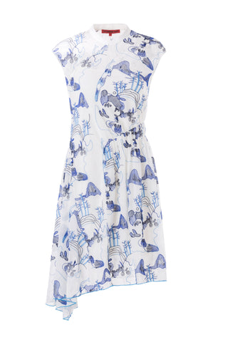 Womens Blue Multi Mountain Asymmetrical Dress