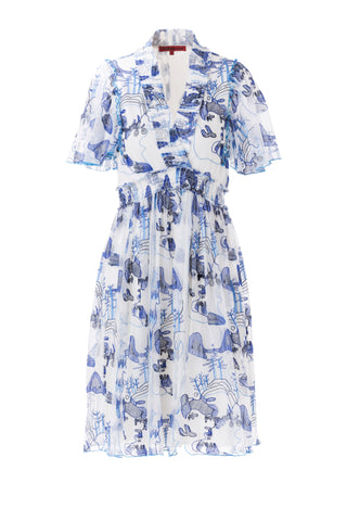 Womens Blue Multi Mountain Landscape Dress
