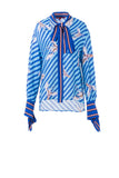 Double Flying Crane Blouse - Blue Multi