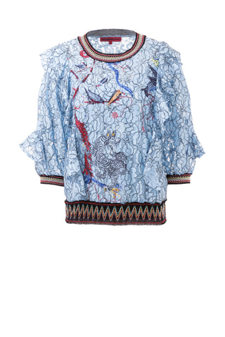 Womens Blue Multi Fantasyland Lace Top
