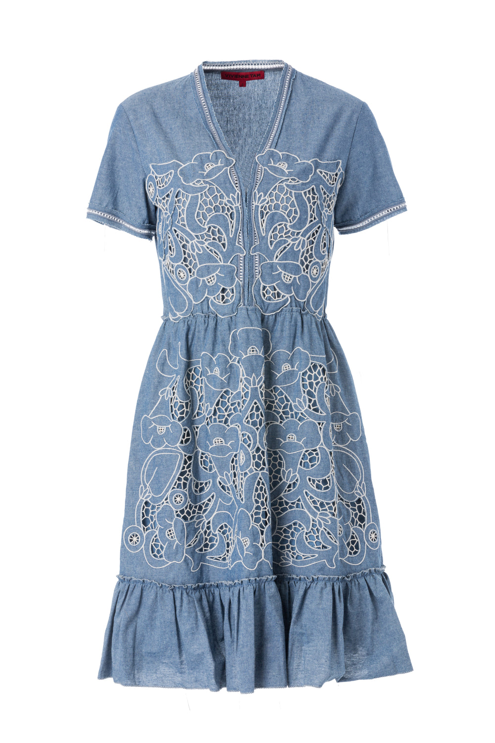 Womens Blue Floral Chambray Dress