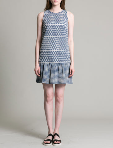 Womens Blue Patchwork Eyelet Dress