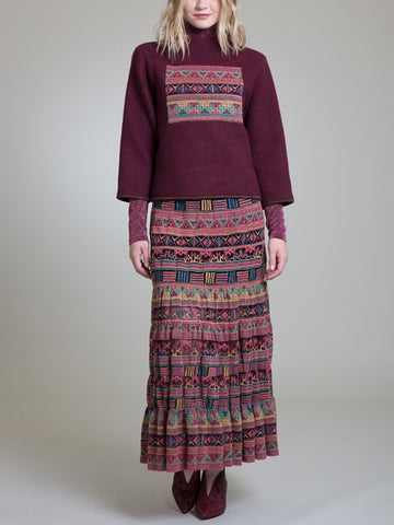 Womens Burgundy Embroidered Wool Top