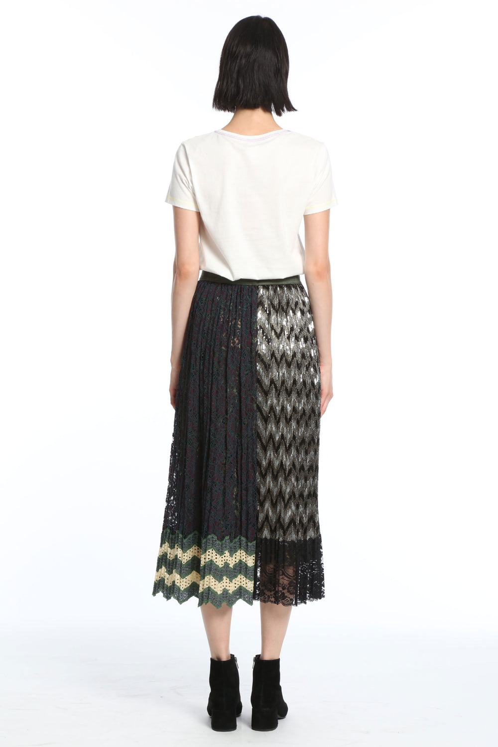 10753a7442 ... Womens Green Multi Pleated Lace Asymmetrical Skirt 2 ...