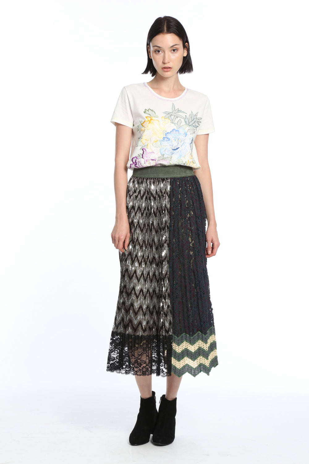Womens Green Multi Pleated Lace Asymmetrical Skirt