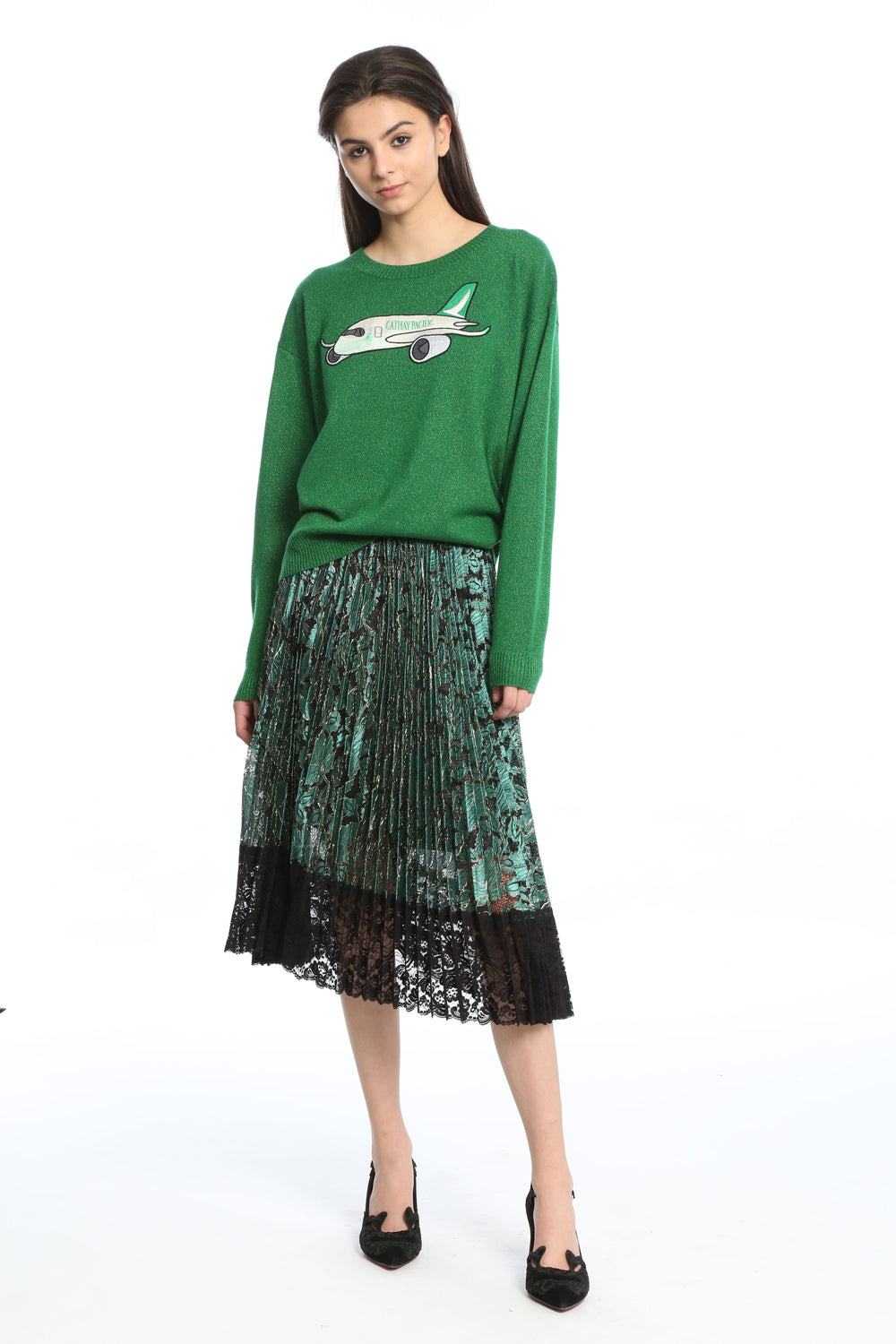 Womens Green Multi Pleated Lace Skirt