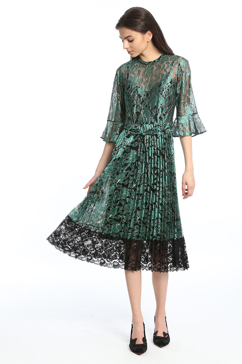 Womens Green Green Metallic Lace Dress