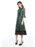 Womens Green Green Metallic Lace Dress 2