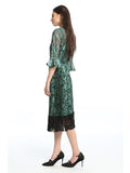 Womens Green Green Metallic Lace Dress 4