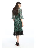 Womens Green Green Metallic Lace Dress 6
