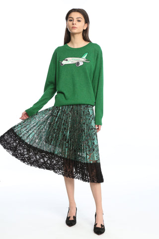 Womens Green Cathay Applique Sweater