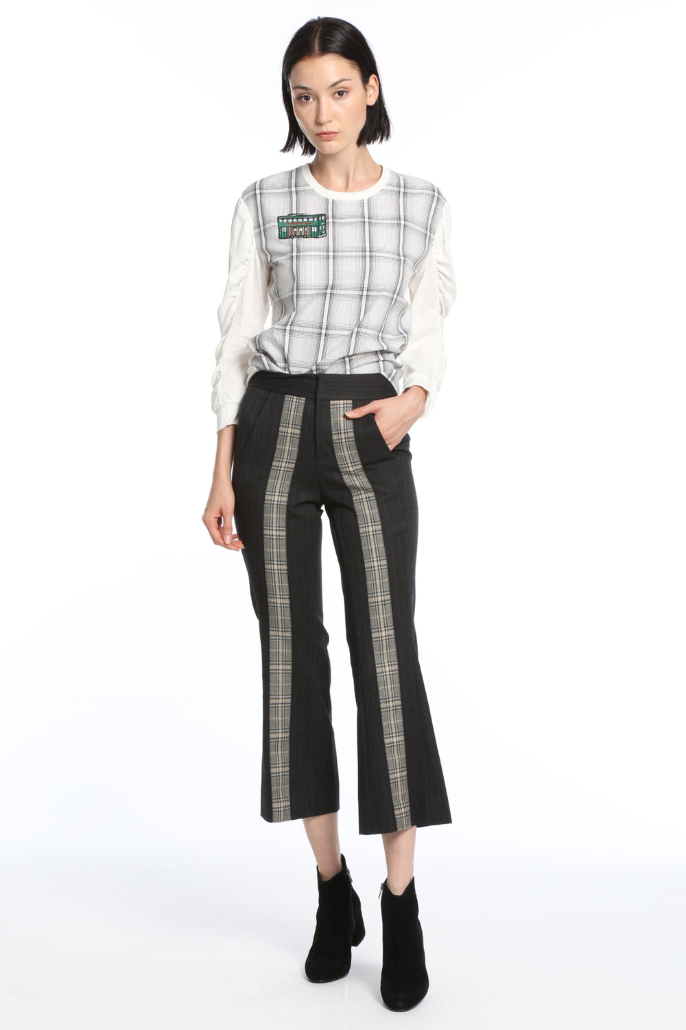 Womens Grey Striped Suiting Checker Pant