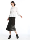 Womens Grey Striped Suiting Checker Skirt 4