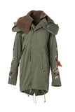 Womens Khaki Dragon Embroidery Oversized Parka Coat