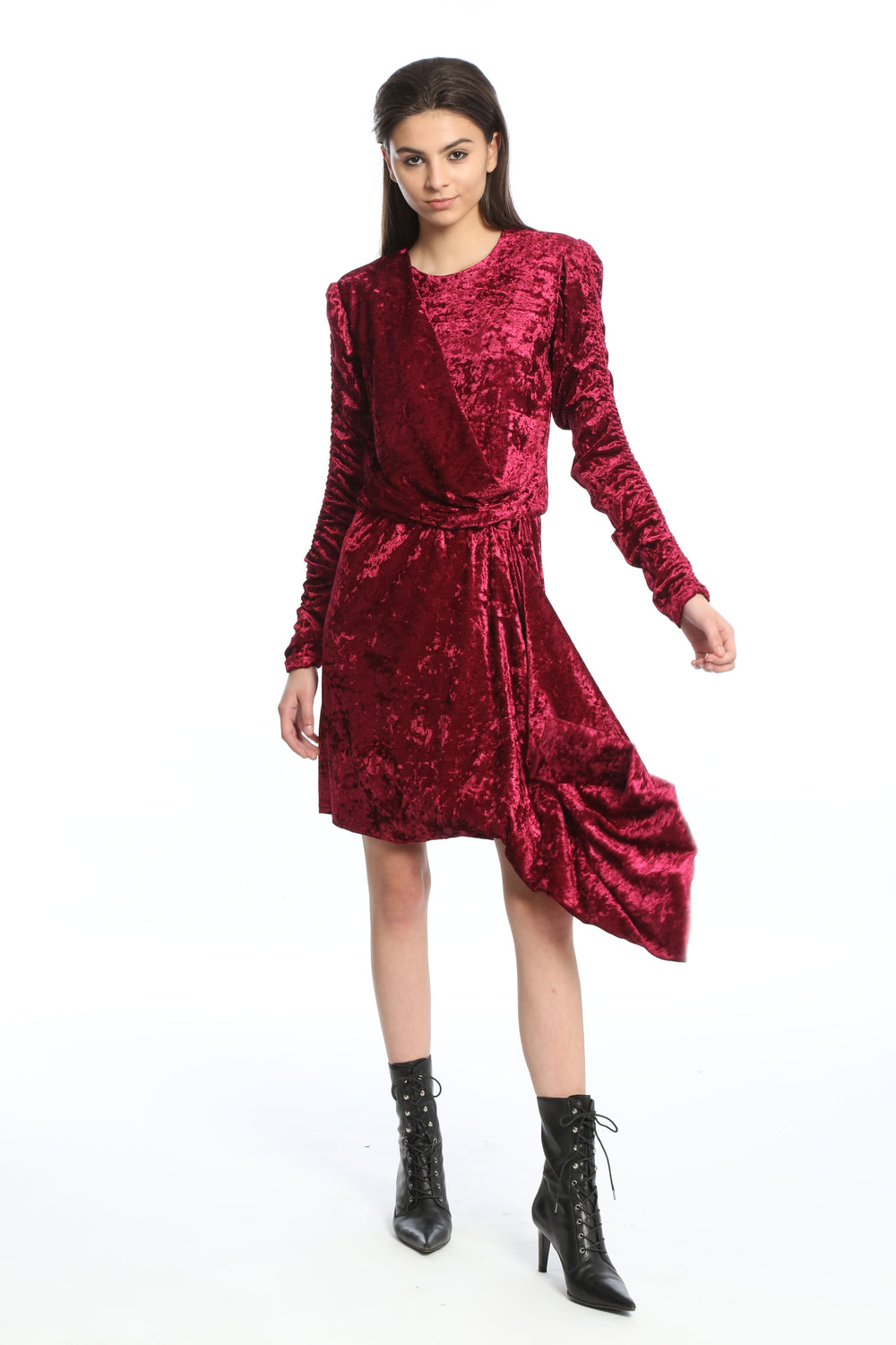 Womens Mulberry Velour Asymmetrical Dress