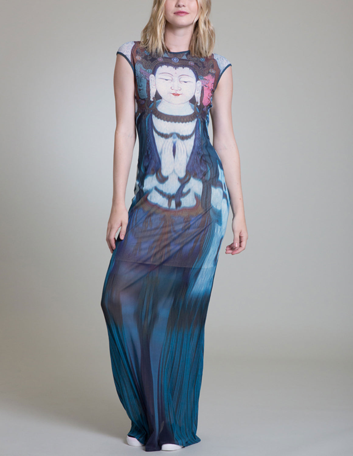 Womens Multi Buddha Maxi Dress