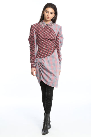 Womens Multi Sequin Plaid Dress