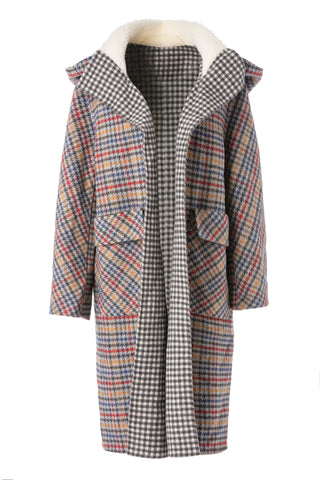 Womens Multi Wool Hounds Tooth Coat