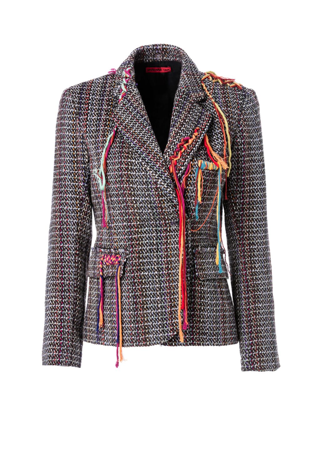 Womens Multi Wool Tweed Blazer