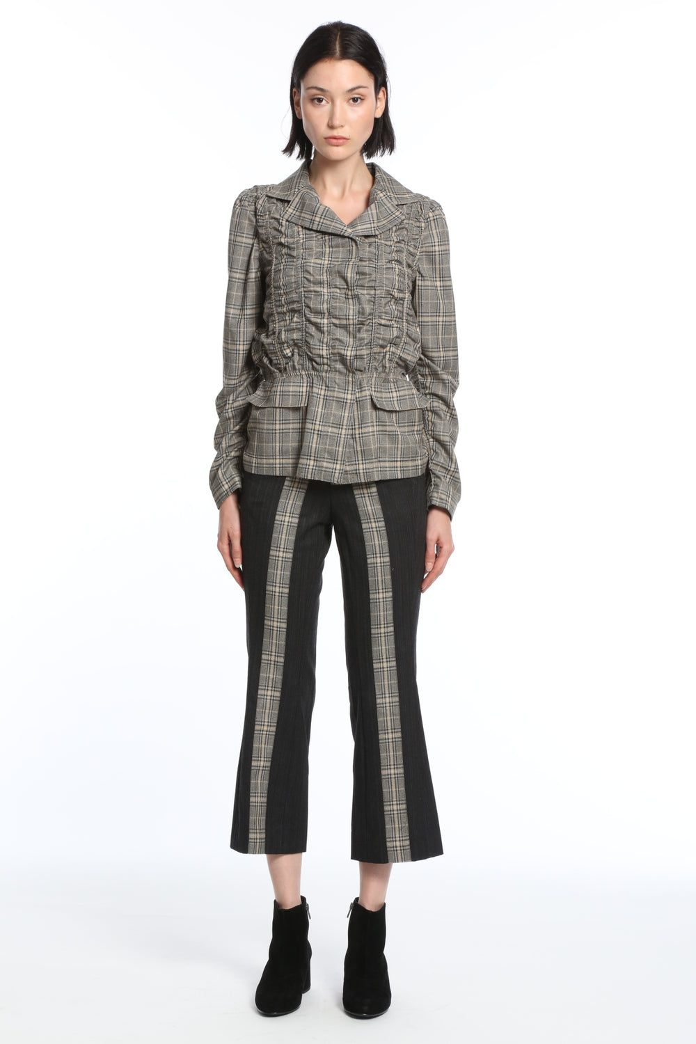 Womens Multi Woven Plaid Jacket