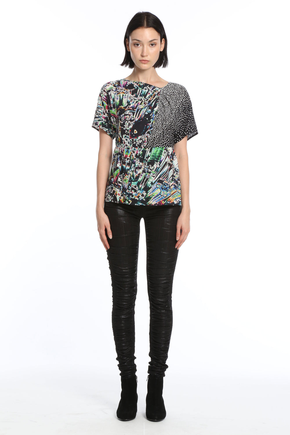 Womens Multi Hk Neon City Silk Top