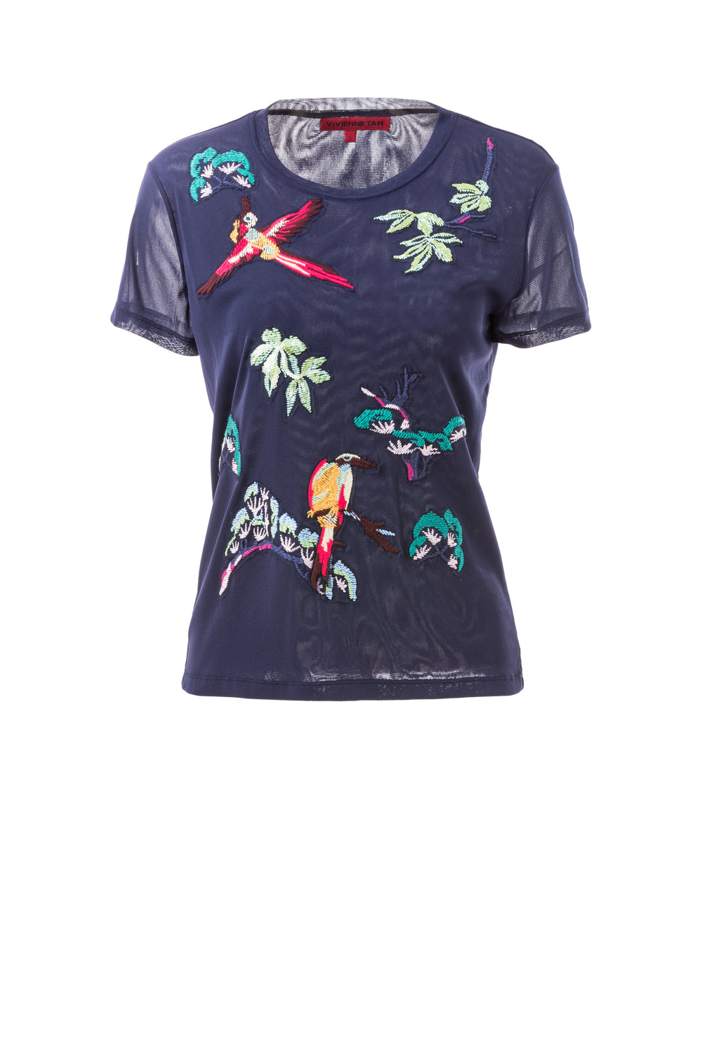 Womens Navy Multi Navy Bird Tree Embroidery Top