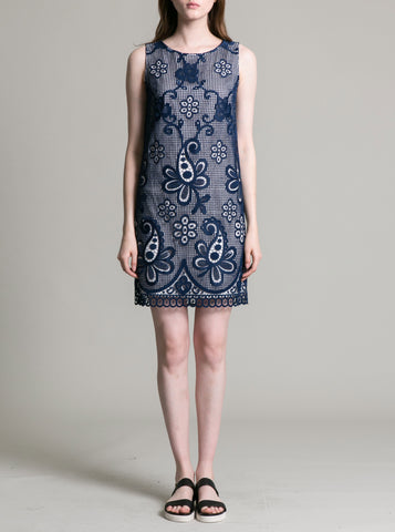 Womens Navy Paisley Lace Dress