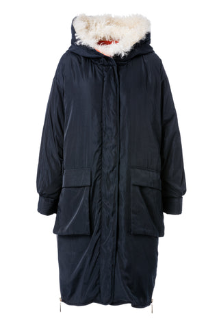 Womens Navy Shearling & Lamb Collar Parka