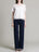 Womens Navy Zipper Wide Leg Pants