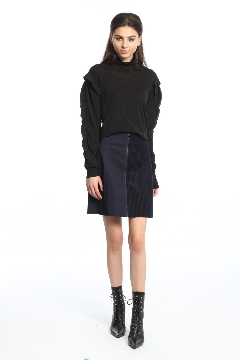 Womens Navy Striped Couduroy Denim Skirt