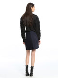 Womens Navy Striped Couduroy Denim Skirt 4