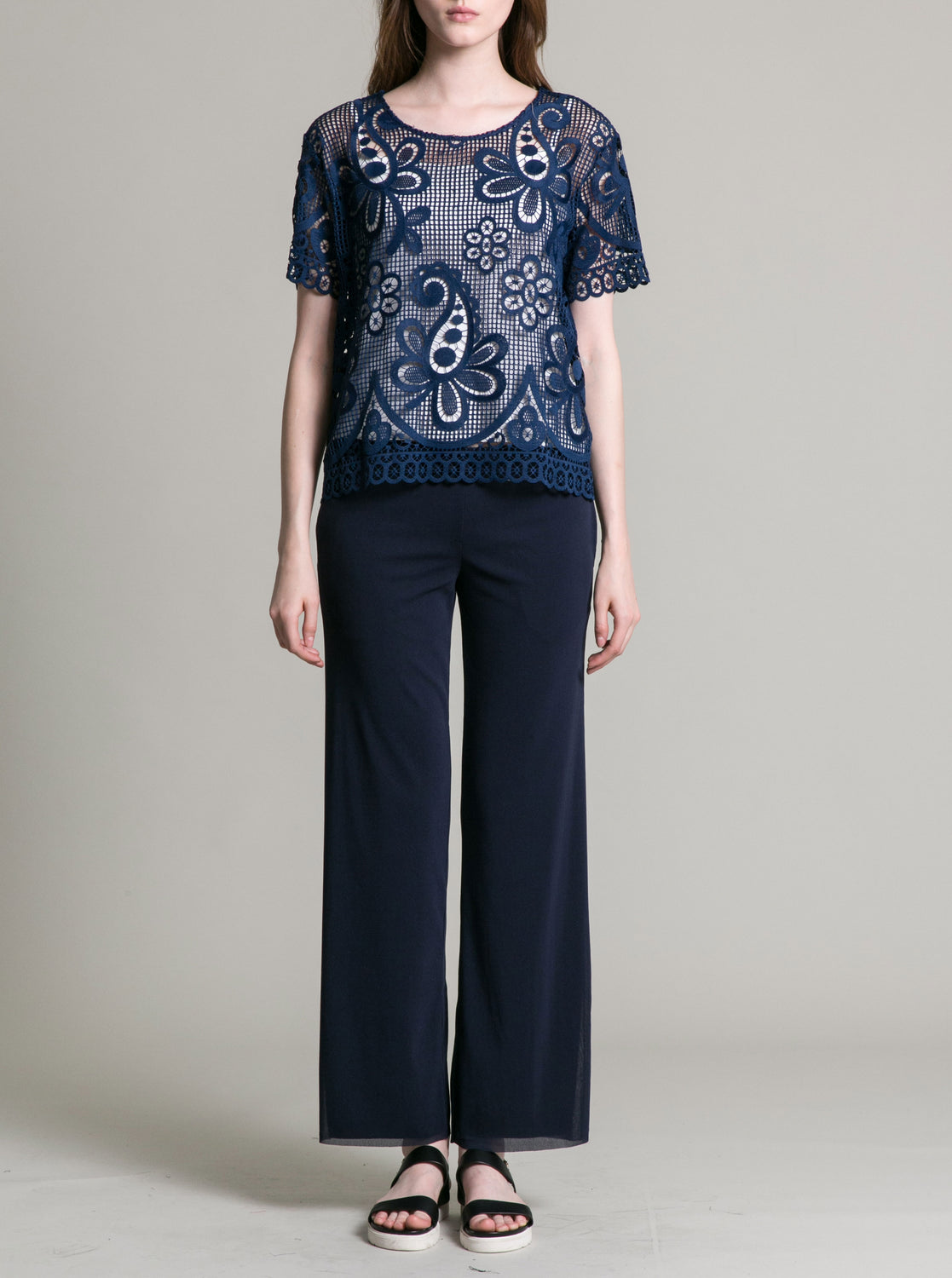 Womens Navy Paisley Lace Top