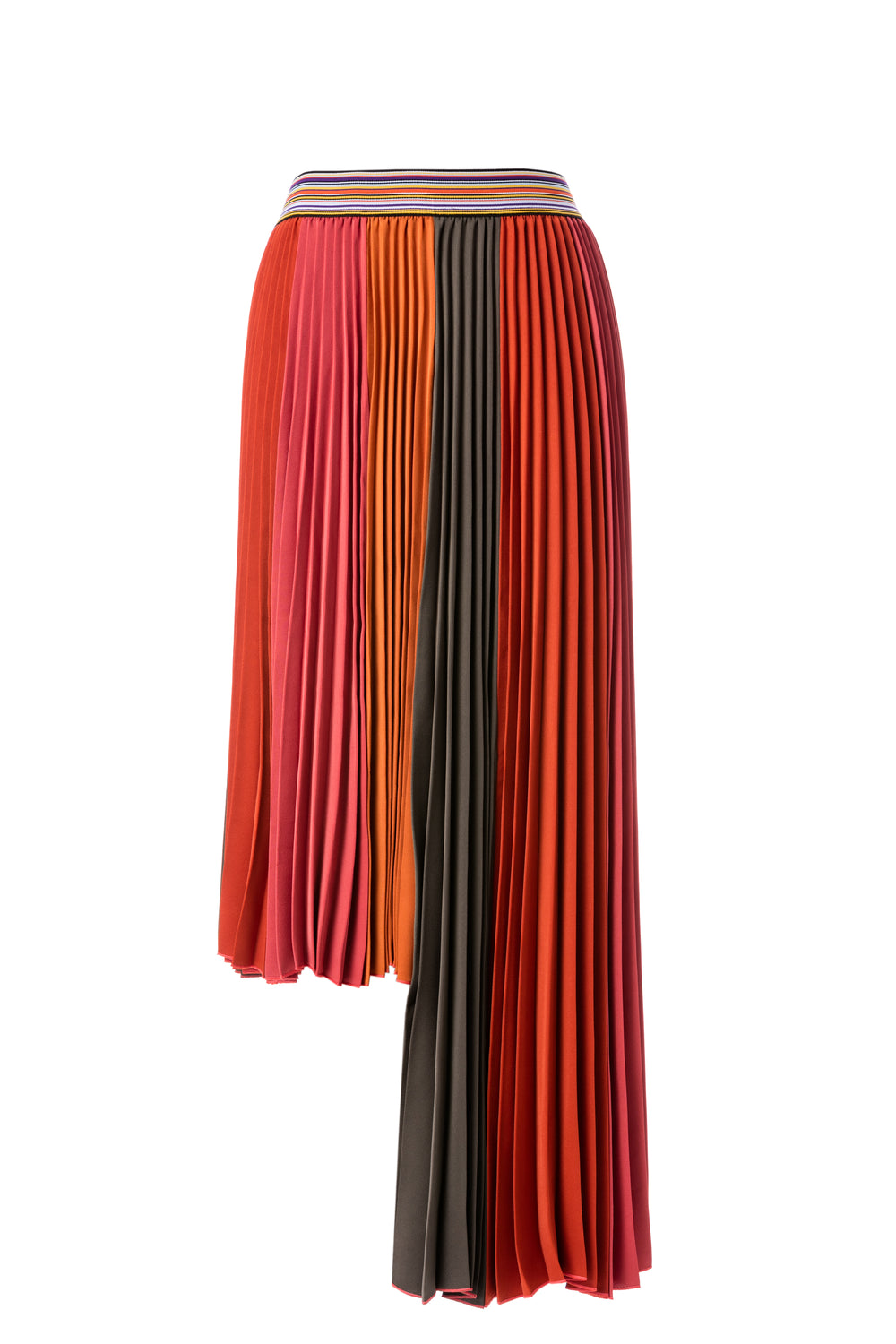Womens Orange Combo Sun Pleated Asymmetrical Skirt