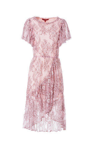 Womens Pink Pink Ruffle Lace Dress