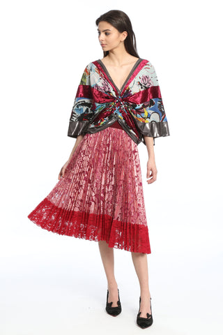 9e32706974 Womens Red Multi Pleated Lace Skirt ...